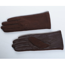 Classic Brown Women Wool Gloves with Brown Leather on the Palm