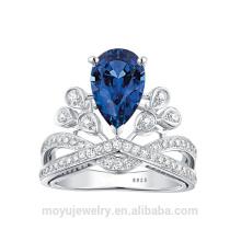 Grande pierre de Cz de qualité supérieure avec une grande bague de fiançailles diamant / ruby / saphire