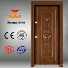Puerta de seguridad de puerta de acero de madera con múltiples cerraduras