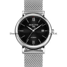 Automatic Stainless Steel Sapphire Mesh Band Relógio de pulso para homens