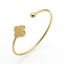 Fashion simple clovers shape customized stainless steel wholesale charm bracelet bangle cuff