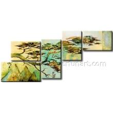 Acolhendo a pintura a óleo da paisagem do pinho