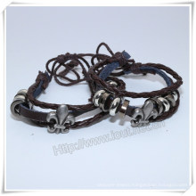 Engraved Pattern Braided Leather Bracelet Alloy Brand Bracelet (IO-CB160)