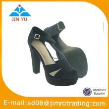 2015 neue stilvolle Frauen schwarze Spitze High Heel Schuh