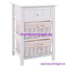 White Wood Night Stand Storage Drawer, 2 Baskets and Open Shelf for Bedroom, Bedside End Tableedroom Wood 2 Basket