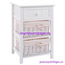 Gaveta de madeira branca do armazenamento do suporte da noite, 2 cestas e a prateleira aberta para o quarto, cesta da madeira da sala de jantar da extremidade da cabeceira 2