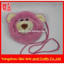 Melhor qualidade urso de pelúcia cabeça saco de pelúcia rosa crianças urso saco para crianças