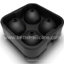 Bola de hielo de caucho de silicona de cóctel de 4 cuadrados personalizados