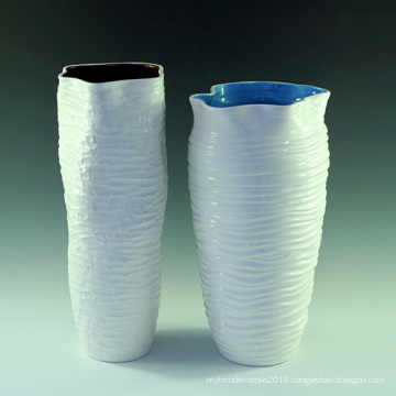 Ceramic Big White Color Flower Vase for Hotel Decoratioin (Lp002)