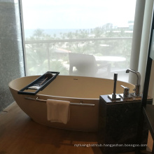 Modern Oval Freestanding Acrylic Solid Surface Stone Bathtub With Cheap Price