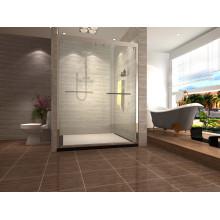 Portas de chuveiro deslizante duplo de quadro de aço inoxidável