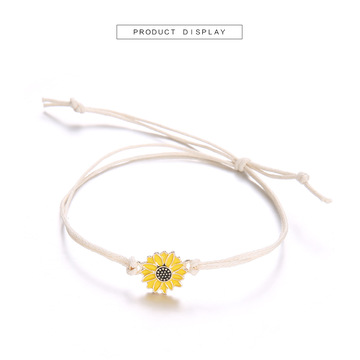Sunflower Charm Bracelet Handmade Friendship Bracelet for women Men