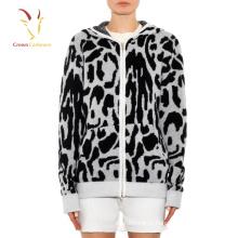 Suéter simples design padrão camisola com capuz zíper