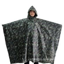 Woodland camouflage poncho, polyester fabric with PVC coating