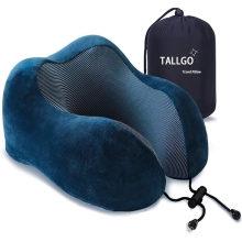 Reisekissen, Best Memory Foam Nackenkissen Kopfstütze Weiches Kissen für Schlafruhe, Flugzeugauto & Heimgebrauch (Dunkelblau)