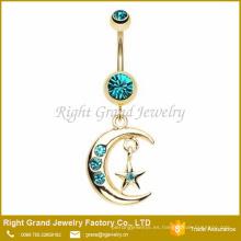 Chapado en oro 316L acero quirúrgico Luna y estrella cuelgan anillo del ombligo