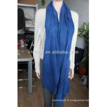 Cachemire bleu 12gg châles écharpes solides tricotés châles