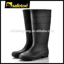 Black industrial PVC joelho alto goma botas W-6036B