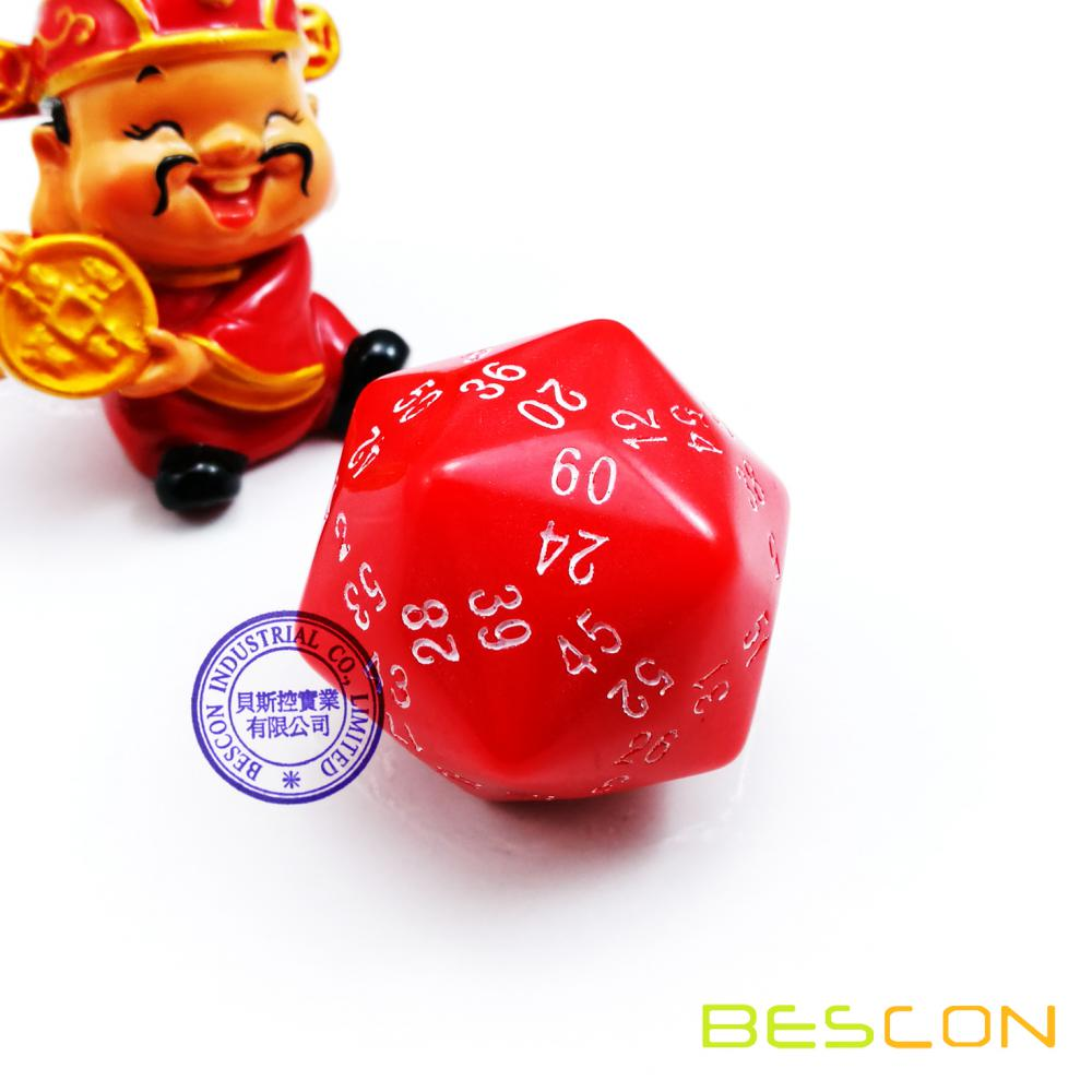 Bescon Polyhedral Dice 60-sided Gaming Dice, D60 die, D60 dice, 60 Sides Dice, 60 Sided Cube of Red Color