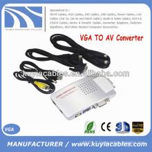 Convertisseur AV Signal de boîte TV S-Vidéo Adaptateur VGA TO AV Supporte le système NTSC PAL