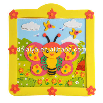 DIY butterfly 3D EVA foam puzzle with photo frame for kids