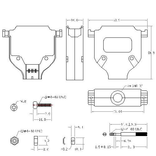DBZU-25XX2 3 D-SUB METAL HOODS,25P, U TYPE,LONG SCREW