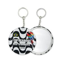 Factory High Quality Tinplate Key Chain Souvenir Key Ring with Mirror