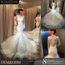 2016 China Dress Fabricante vestido de noiva de renda longa peru Turquia