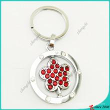 Fleur rouge pierre pendentif en métal porte-clés en gros (kr16041919)