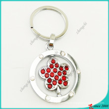 Pedra vermelha pingente de flor de metal chaveiro atacado (kr16041919)