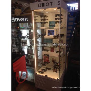 Eyewear Retail Store Sonnenbrille Merchandising Locking Top Led Beleuchtung Glas Display Schrank