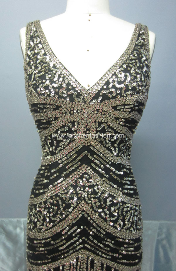 New Style V Neck Sequin Maxi Dresses