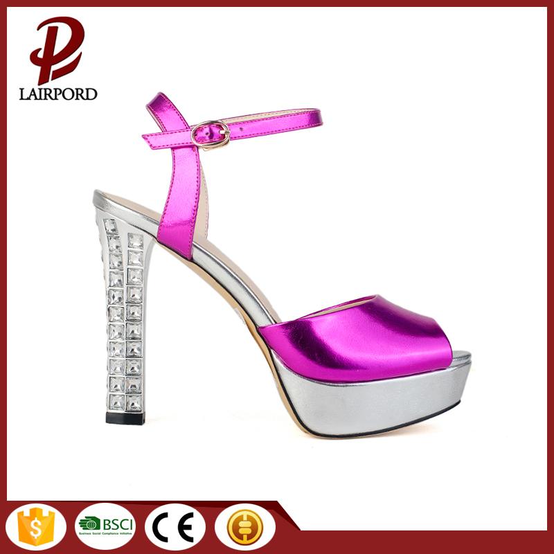 crystal high heel fashion sandals with platform