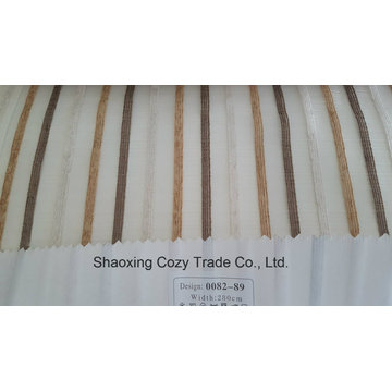 New Popular Project Stripe Organza Voile Sheer Curtain Fabric 008289