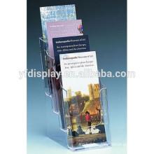 Présentoir de brochure de 4 niveaux, support A4 de brochure de plexiglass, support acrylique clair de brochure