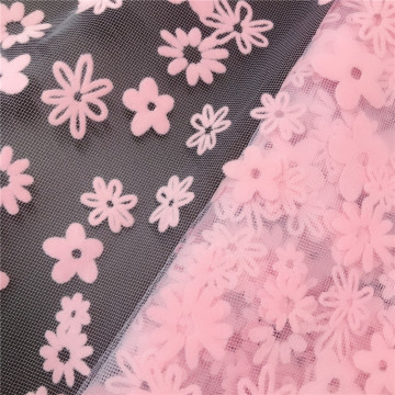 Tissu de maille de tulle imprimé flocage de marguerite en polyester