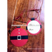 Rectangle et rond coupé mignon Santa étiquettes de cadeaux pour la décoration d'arbre de Noël
