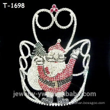 Fancy colored rhinestone elf surprise christmas pageant crowns for sale