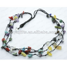 3Wire Knotted Assorted Chip Necklace
