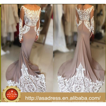 ASEY-04 latest gown designs Sexy Long Sleeve Mermaid Lace Party Gown women evening dresses gown
