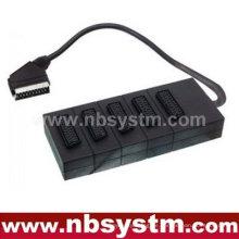 21pin Scart Stecker zu 5 x 21pin Scart Buchsen Box 30cm (dvd.video, dvd-r, versterker, Spielsteuerung)