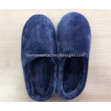Flat dark blue flannel slippers for men
