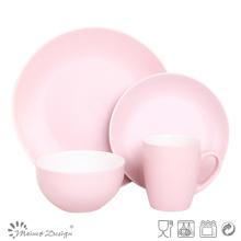 Ensemble de dîner 16PCS en céramique de couleur rose mat