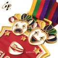 Customize clown medalla metal enamel gold medal with ribbon