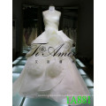 New Fashion Ruffle Wedding Dress 2016 3D Rose Organzia Bride Dresses Sleeveless 1A881