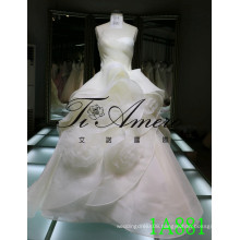 New Fashion Ruffle Wedding Dress 2016 3D Rose Organzia Bride Dresses Sleeveless 1A881