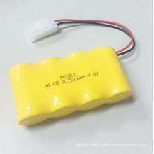 PKCELL Ni-Cd SC1500 4.8V 1500mah Rechargeable Battery Pack With Cable and Connector