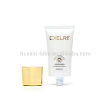 Casquillo oval del tubo de empaquetado cosmético plástico de la crema del sunblock de la impresión de pantalla de 80ml con platear