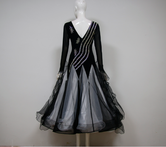 Black Ballroom Dance Costumes For Competition