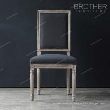 Decoración de la familia tela de lujo cuadrada espalda sala de estar silla francés